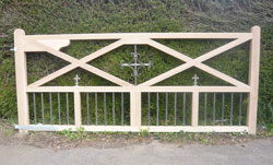 Large Oak Gate with Wrought Ironwork